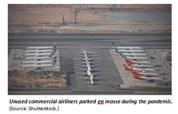 Unused commercial airliners parked en masse during the pandemic.