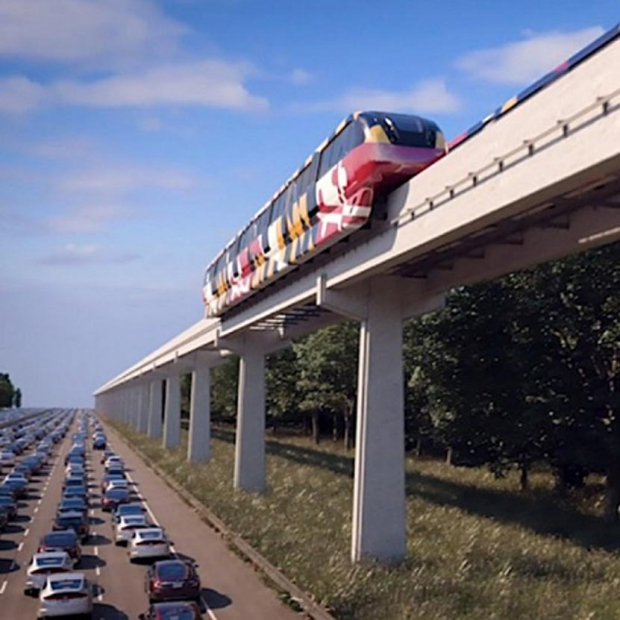 Monorail over traffic