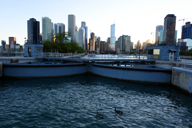 Chicago lock with city city skyline