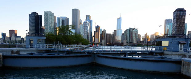chicago lock with city skyline