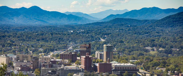 Asheville, NC with mountains in background