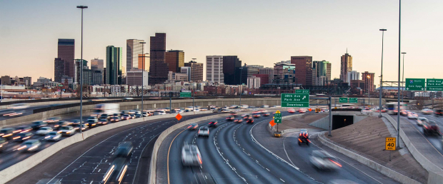 downtown denver with interstate 25