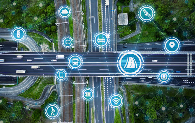 Social infrastructure and communication technology concept. IoT(Internet of Things). Autonomous transportation. Source: shutterstock