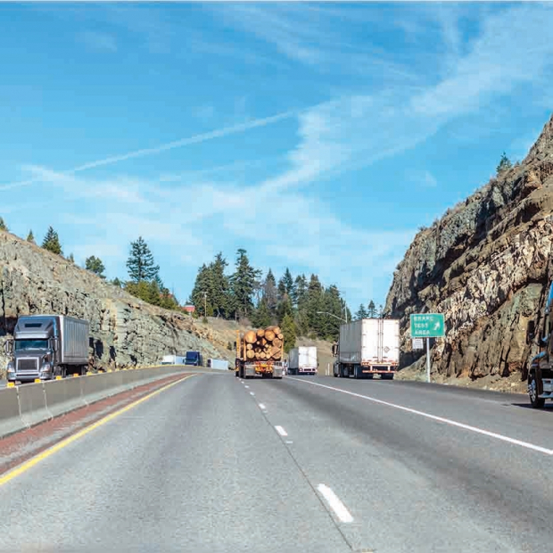 trucks along california road