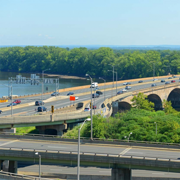 Bulkeley Bridge across Connecticut River on Interstate Highway 84